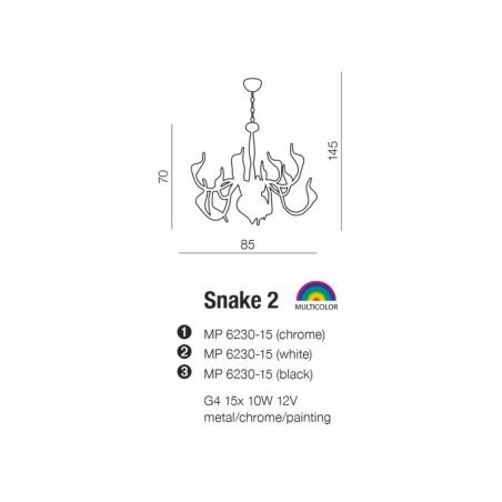 Lampa wisząca - SNAKE 2 AZ0043 CHROM - Azzardo