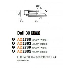 Stylowy kinkiet - DALI 30 AZ2883 3000K CZARNY - Azzardo