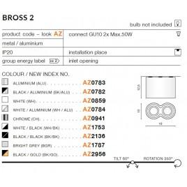 Nowoczesny plafon - BROSS 2 AZ2956 BK / GO - Azzardo