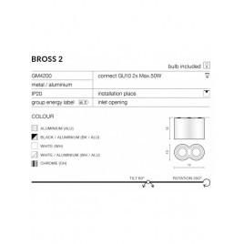 Nowoczesny plafon - BROSS 2 AZ0784 WH / ALU - Azzardo