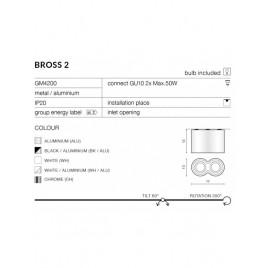Nowoczesny plafon - BROSS 2 AZ0783 ALU - Azzardo