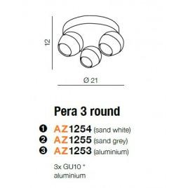Unikalna lampa sufitowa - PERA 3 ROUND AZ1255 SZARA - Azzardo