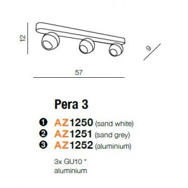 Estetyczna lampa sufitowa - PERA 3 AZ1251 SZARA - Azzardo