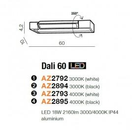Efektowny kinkiet - DALI 60 AZ2895 4000K CZARNY - Azzardo