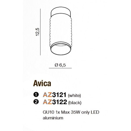 Plafon - AVICA AZ3122 BIAŁY - Azzardo