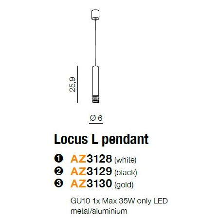 Mała lampa wisząca - LOCUS L PENDANT AZ3128 CZARNA - Azzardo