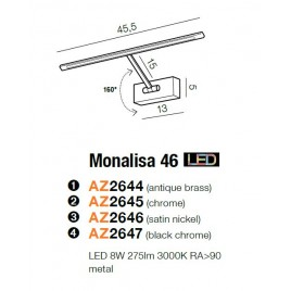 Nieprzeciętna galeryjka - MONALISA 46 AZ2646 NIKIEL - Azzardo
