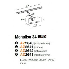 Solidna galeryjka - MONALISA 34 AZ2643 CZARNY CHROM - Azzardo