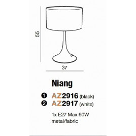 Minimalistyczna lampa stołowa - NIANG AZ2916 CZARNA - Azzardo