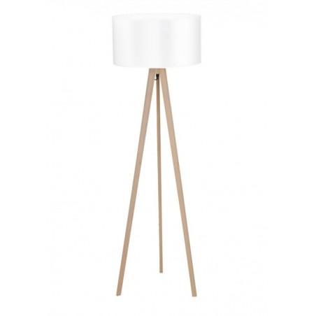 Stylowa lampa stojąca - TRIPOD WOOD ROUND AZ3013+AZ3014 BIAŁA - Azzardo