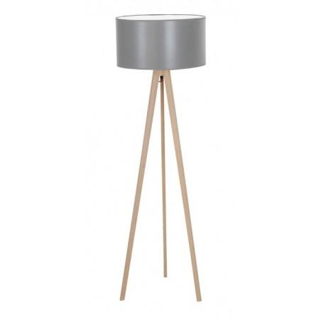 Stylowa lampa stojąca - TRIPOD WOOD ROUND AZ3013+AZ3015 SZARA - Azzardo