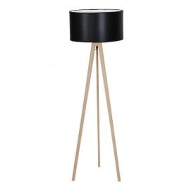 Stylowa lampa stojąca - TRIPOD WOOD ROUND AZ3013+AZ2968 CZARNA - Azzardo