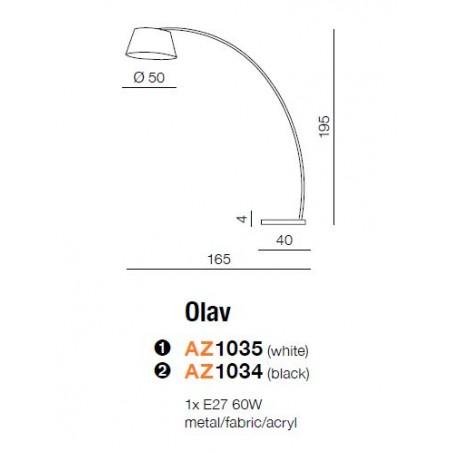 Wysoka lampa stojąca - OLAV AZ1035 BIAŁA - Azzardo