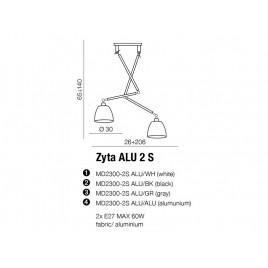 Nowoczesna lampa wisząca - ZYTA 2S PENDANT ALU AZ2301+AZ2600 CZARNA - Azzardo