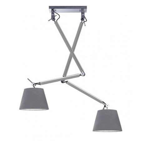 Nowoczesna lampa wisząca - ZYTA 2S PENDANT ALU AZ2301+AZ2601 SZARA - Azzardo