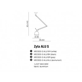 Lampa wisząca - ZYTA S PENDANT ALU AZ2298+AZ2594 ALUMINIUM - Azzardo