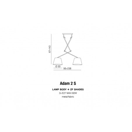 Niezwykła lampa wisząca - ADAM 2S AZ1842+AZ2586 CZARNA - Azzardo