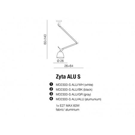 Funkcjonalna lampa wisząca - ZYTA M PENDANT AZ1847+AZ2596 ALUMINIUM - Azzardo