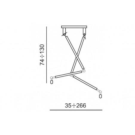 Oryginalna lampa wisząca - ZYTA 2S PENDANT AZ1846+AZ2601 SZARA - Azzardo