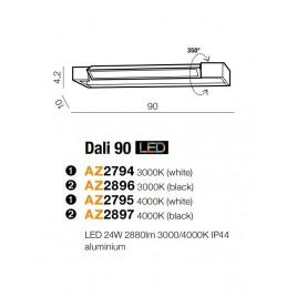 Solidny kinkiet - DALI 90 AZ2897 4000K CZARNY - Azzardo