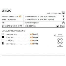 Okrągłe oczko stropowe - EMILIO AZ0810 ALUMINIUM - Azzardo