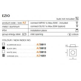 Oczko stropowe - EZIO AZ0812 CZARNE - Azzardo